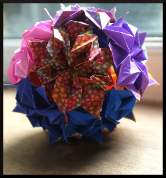 Origami bouquet made from paper
